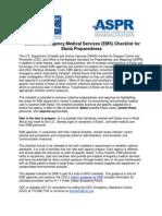 Detailed Emergency Medical Services Checklist for Ebola Preparedness