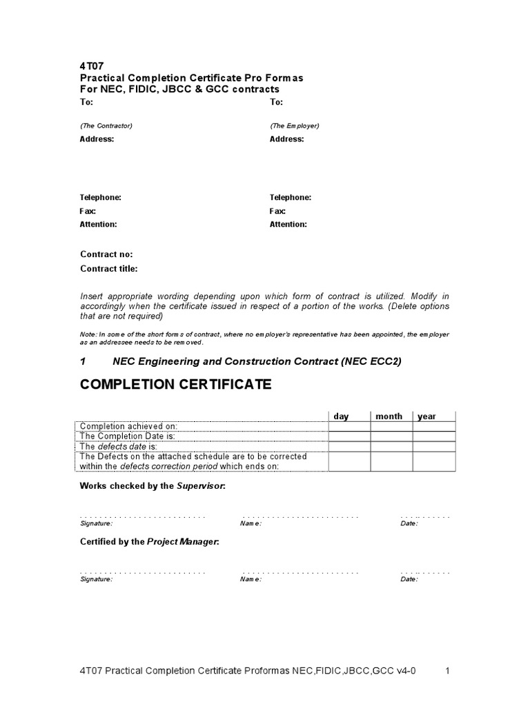 Certificate practical completion sample image collections nec3 completion certificate template image collections 4t07 practical completion certificate profromas v4 0c real 4t07 practical yadclub Images