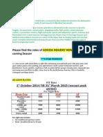 goveia season rates 2014-15