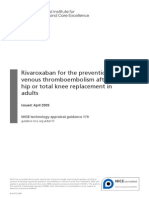 Guidance Rivaroxaban for the Prevention of Venous Thromboembolism After Total Hip or Total Knee Replacement in Adults PDF