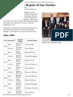 List of Captains Regent of San Marino - Wikipedia, The Free Encyclopedia