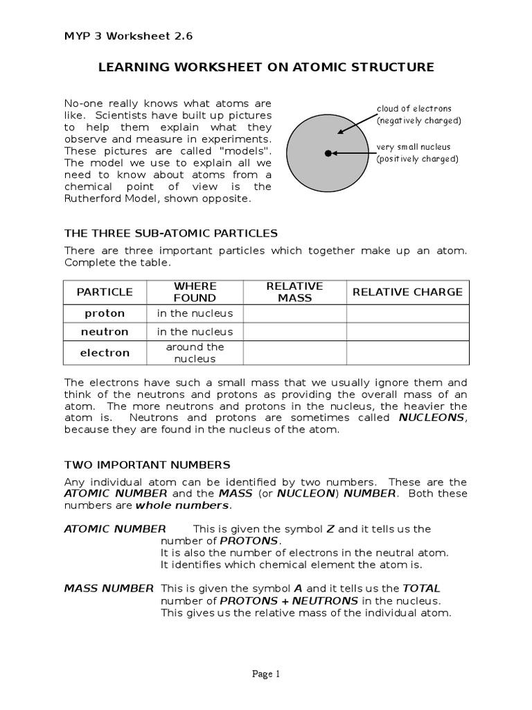 worksheet Models Of The Atom Worksheet worksheet 2 6 learning on atomic structure doc atoms nucleus