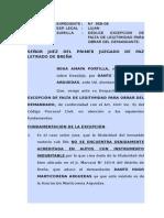 DEDUCE EXCEPCION DE FALTA DE LEGITIMIDAD PARA OBRAR DEL DEMANDANTE.doc