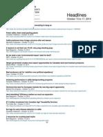 CCA Headlines October 13 to 17, 2014
