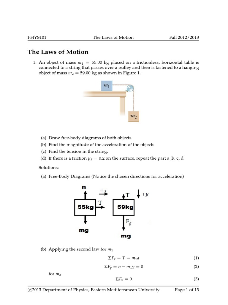 Tutorial The Laws Of Motion0 Tension Physics Friction How To Draw A Free Body Diagram