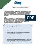 images of jesus task sheet