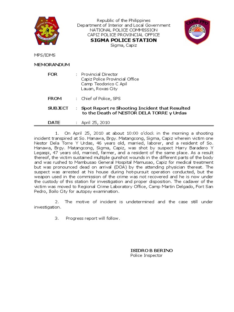 Spot Report Shooting Incident Doa Affidavit – Homicide Report Template