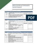 Planificación Actividades Soportes Hazop