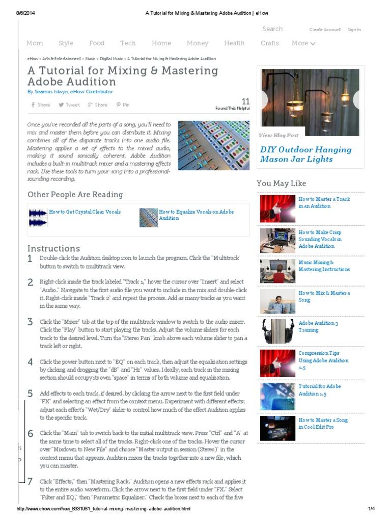 Audition 1. 5: audio secrets part 1: adobe audition tutorial.