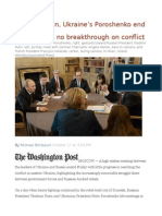 Russia's Putin, Ukraine's Poroshenko End Summit With No Breakthrough on Conflict