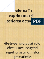Abatere in Exprimare Si Scriere Actuala