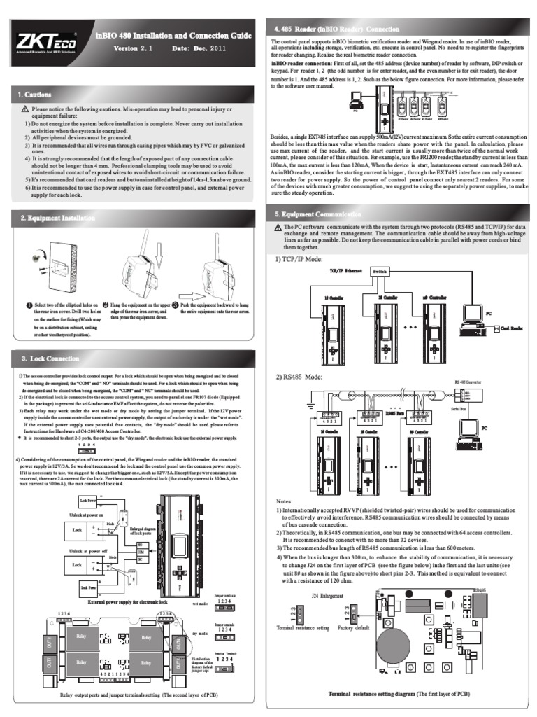 inBIO480 Installation Guide V2 1-20120105 (3).pdf | Relay | Power Supply