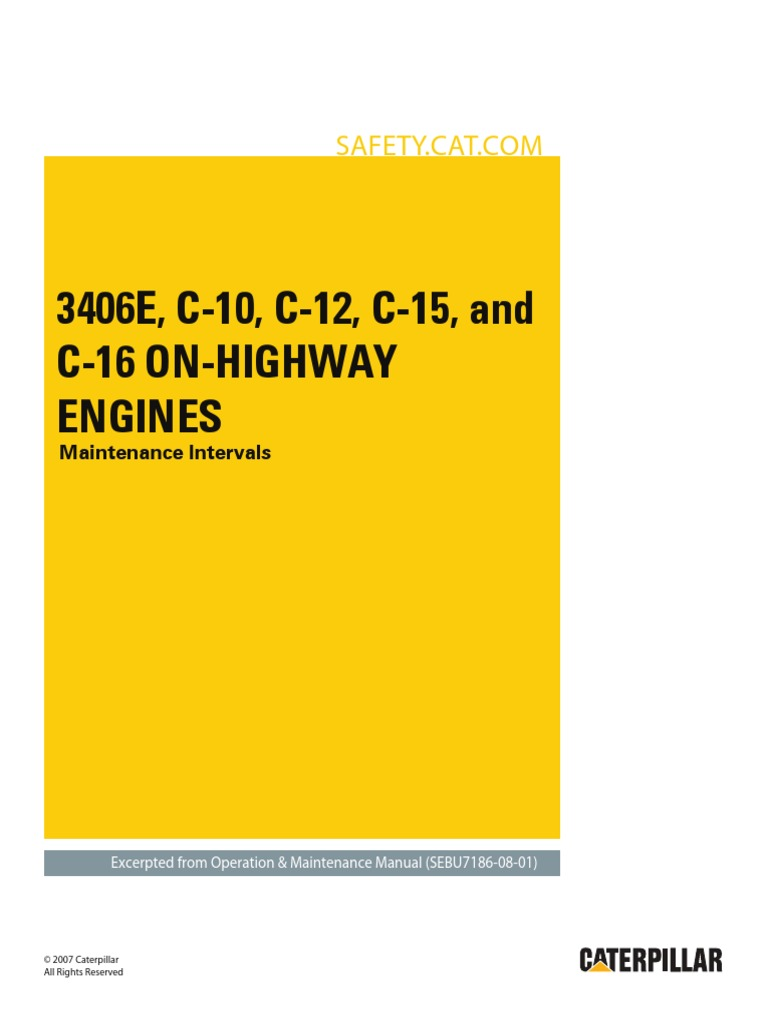 3406E, C-10, C-12, C-15 and C-16 On-Highway Engines-Maintenance  Intervals[1].pdf | Belt (Mechanical) | Battery (Electricity)