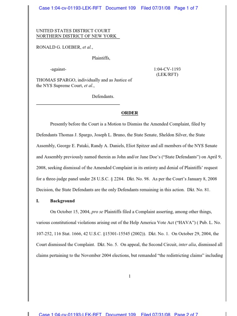 Doc 109 NDNY 04-Cv-1193 Order to Dismiss in Re 3 Judge Court