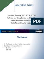 Postoperative Crisis/CCM board review