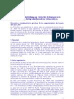 Justificación de límites para validación de limpieza en la fabricación de ingredientes activos