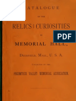 (1886) Catalogue of the Relics and Curiosities in Memorial Hall, Deerfield Massachusetts