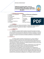 SILABUS de Calculo de Elementos de Maquinas I  2009A GAMARRA.doc