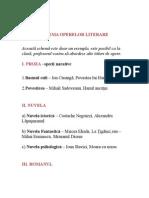 SCHEMA OPERELOR LITERARE bac