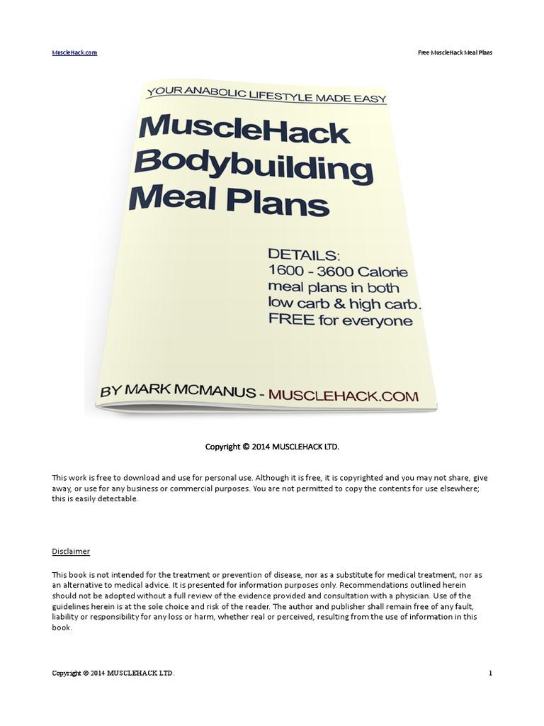 MuscleHack Free Meal Plans | Macromolecules | Determinants Of Health