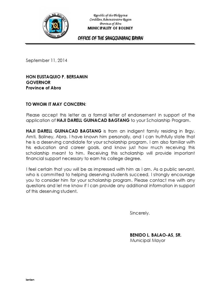 Delightful Letter Of Endorsement   Scholarship | Politics | Government