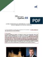 Lettre confidentielle du Ministère de la Santé et des Services Sociaux du Québec aux CLSC