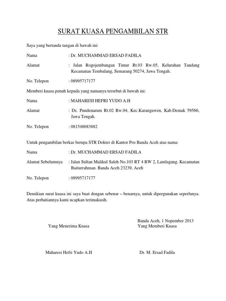 Surat Kuasa Pengambilan Str