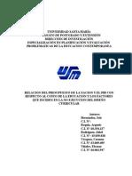 RELACION DEL PRESUPUESTO DE LA NACION Y EL PIB CON RESPECTO AL COSTO DE LA EDUCACION.doc