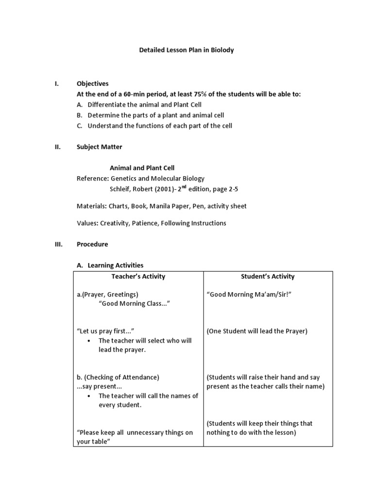 a detailed lesson plan in science | Lesson Plan | Cell (Biology)