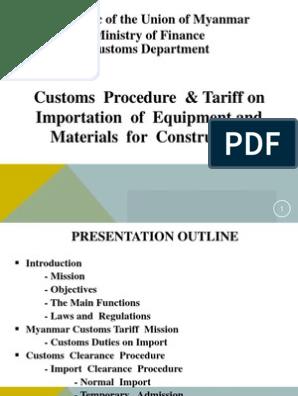Myanmar Customs | Customs | Tariff