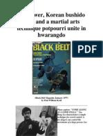 Martial Arts - Ki Power, Korean Bushido Code and a Martial Arts Technique