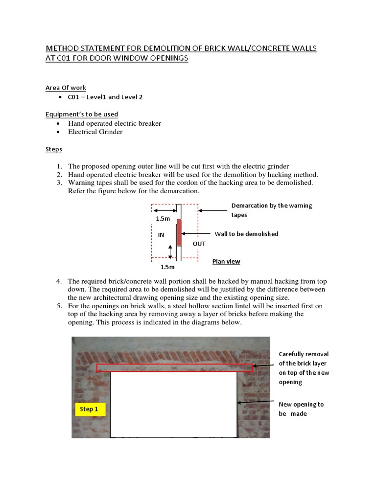 Method Statement for Demolition of Brick Concrete Walls at c01 for – Method of Statement Sample