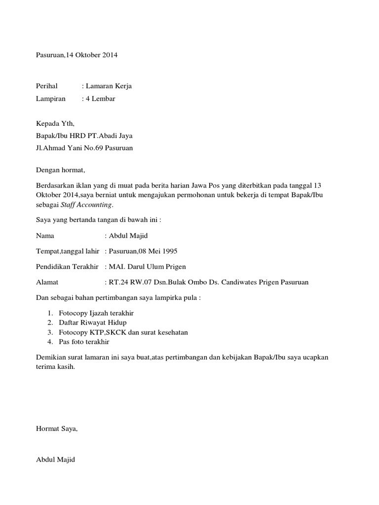 Contoh Surat Semi Block Style Informasi Seputar Dunia