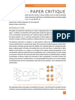 Plasmonic Nanosensors Paper Critique