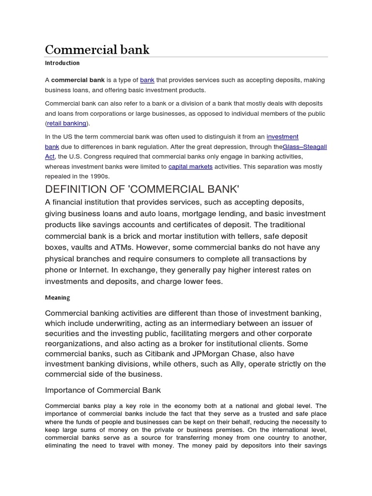 need and importance of commercial banks