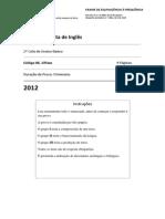Exame de Equivalência à Frequência de 2º Ciclo- 1ª Fase- 2012