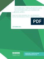 DISCUSIÓN DEL PRESUPUESTO 2015 PARA VIVIENDA EN LA CIUDAD DE BUENOS AIRES