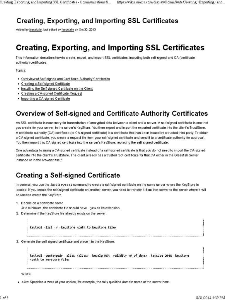 Creating exporting and importing ssl certificates creating exporting and importing ssl certificates communications suite oracle wiki public key certificate transport layer security xflitez Image collections