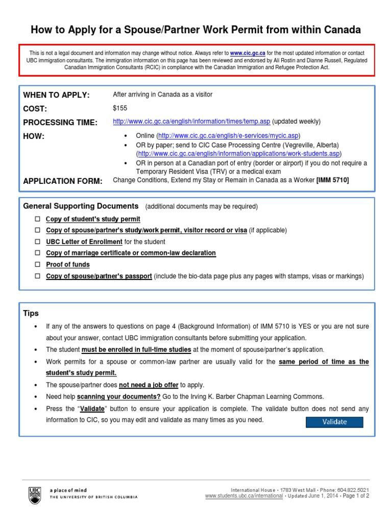 Spousal Work Permit Tutorial June 1 Travel Visa Employment