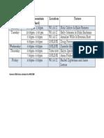 BMS Summer Tutor Schedule