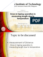 Errors in Taping Operation in Measuring Length Due to Temperature