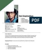 Hari Gopinathan - Resume
