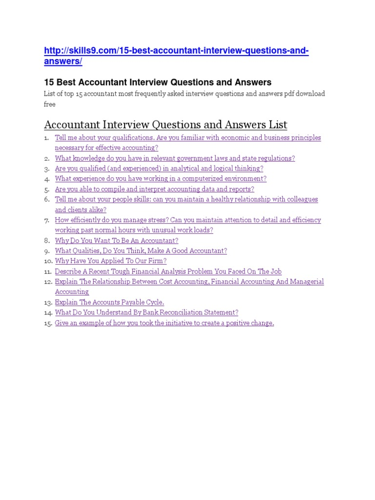 accounts interview questions and answers - Frequently Asked Interview Questions And Answers