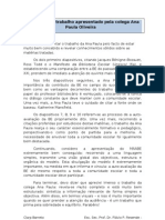 Comentário ao trabalho realizado pela colega Ana  Oliveira