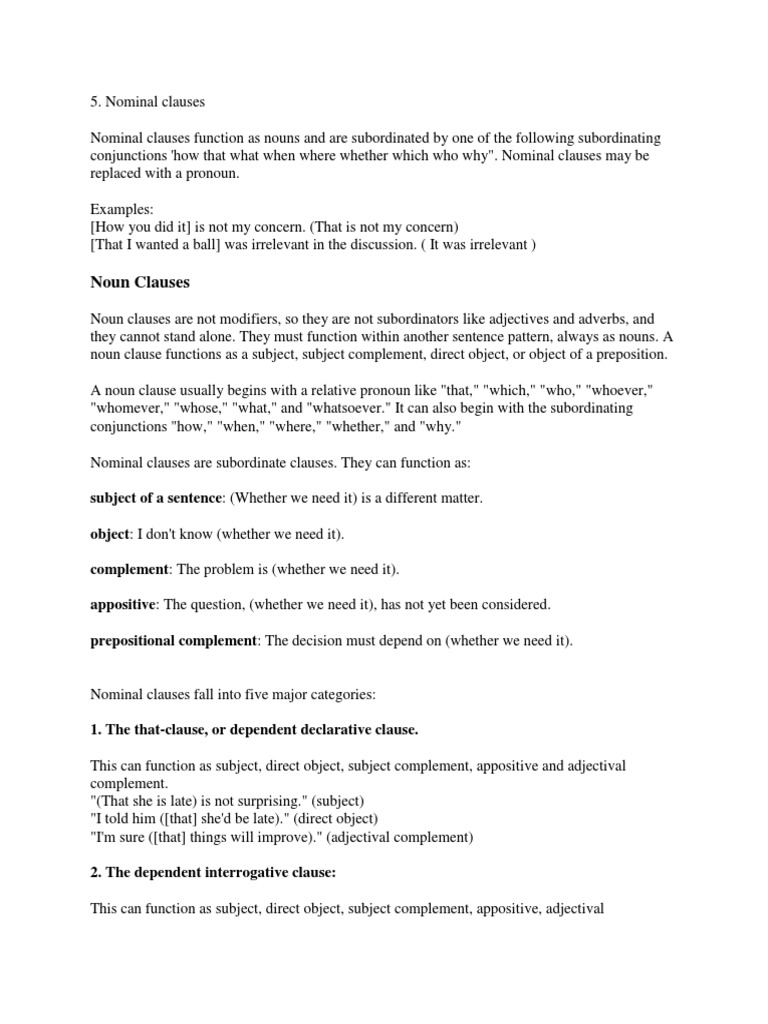 Workbooks Noun Clauses Worksheets Free Printable Worksheets For