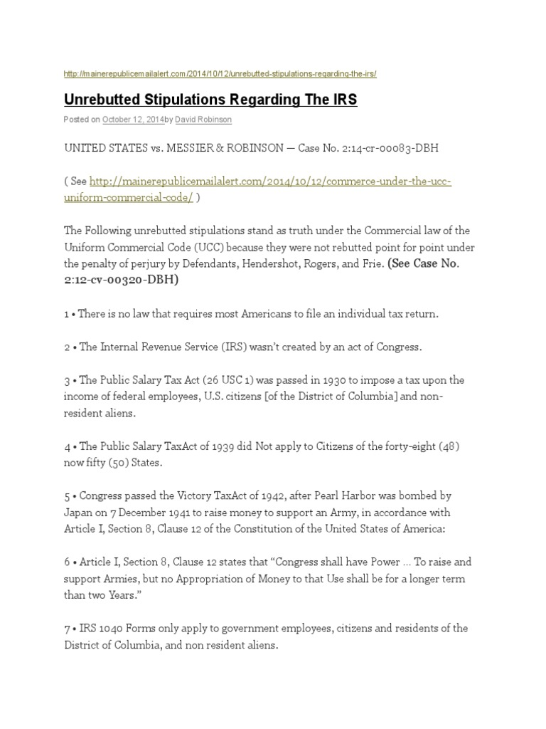 Unrebutted IRS 2014 | Internal Revenue Service | Federal Government ...