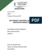 speech grade 12 results 2012 03-01-2013