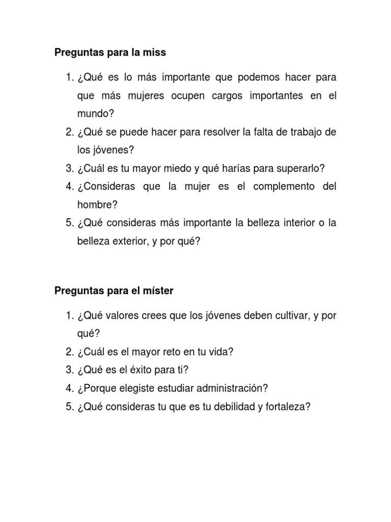 Preguntas Para Hacerle A Una Mujer