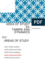 areas of study timbre and dynamics