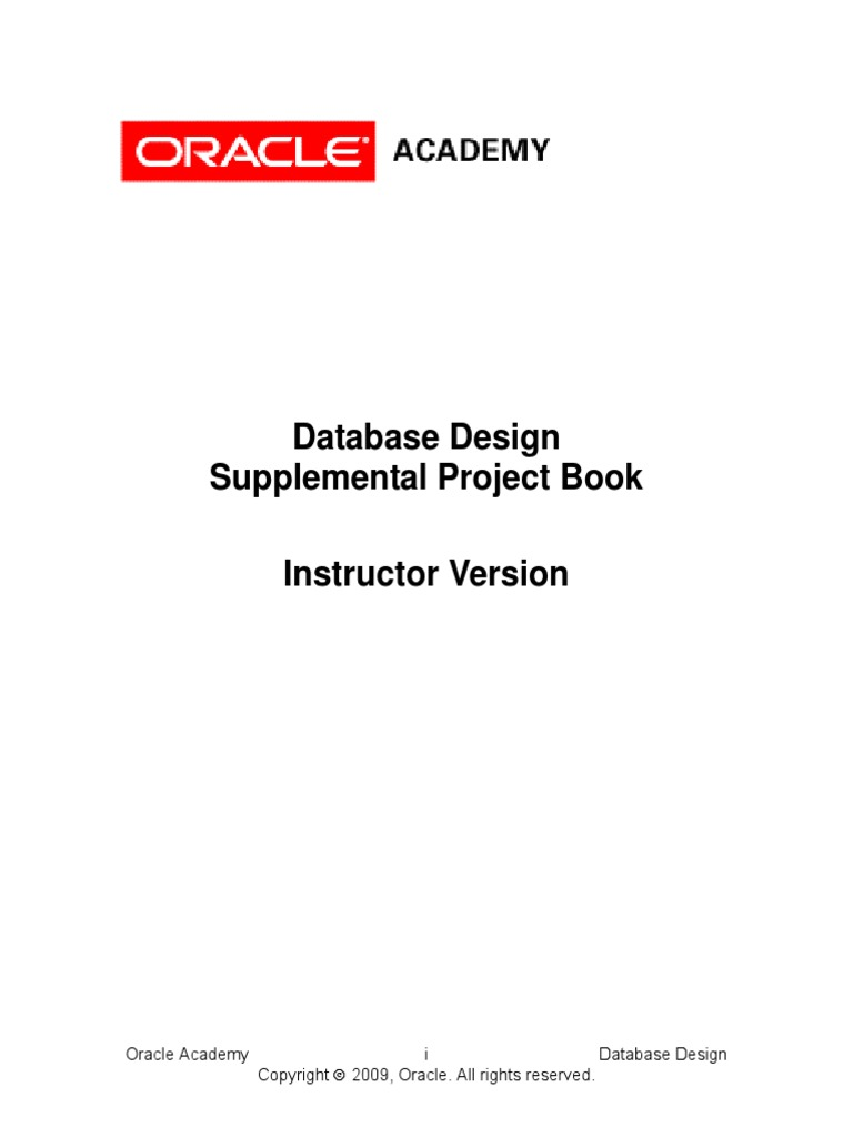 Oracle academy project book instructor menu oracle database fandeluxe Images